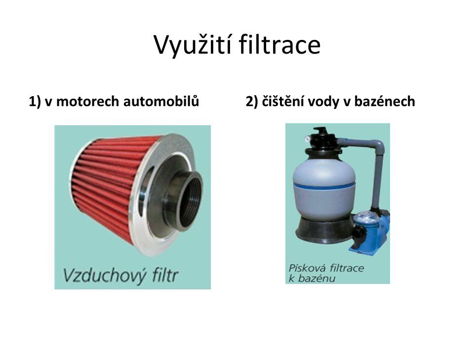 Využití filtrace 1) v motorech automobilů 2) čištění vody v bazénech
