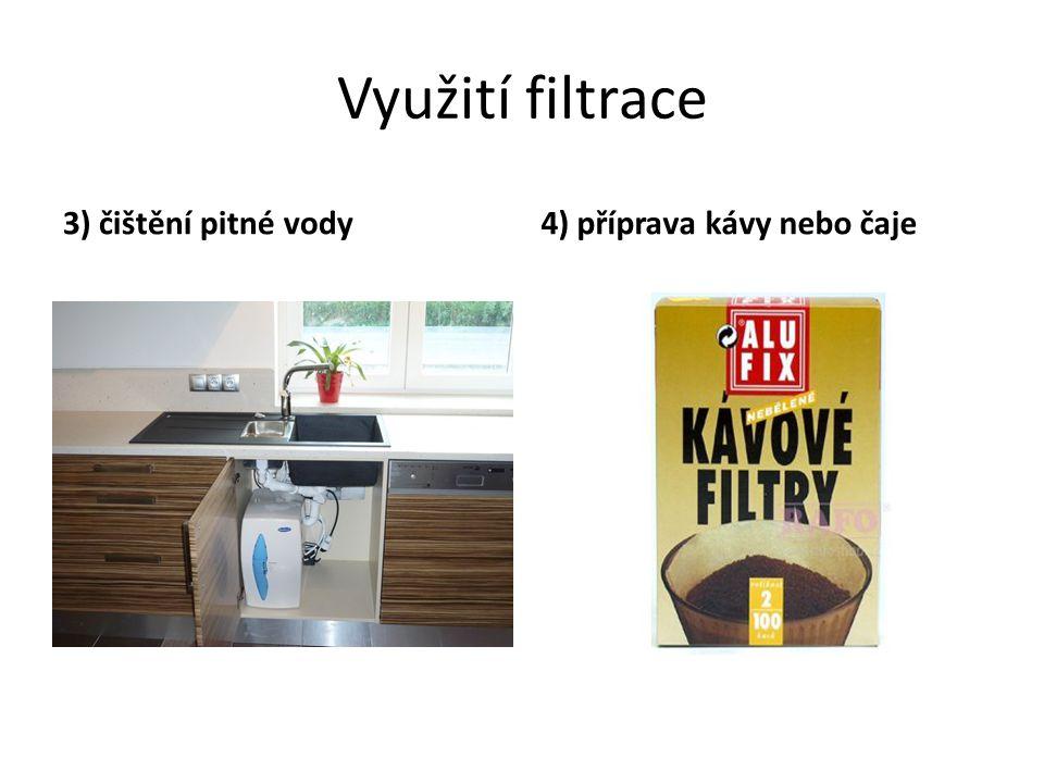 Využití filtrace 3) čištění pitné vody 4) příprava kávy nebo čaje