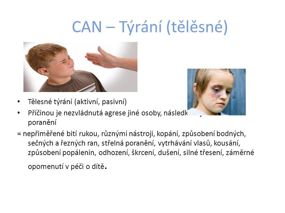CAN – Týrání (tělěsné) Tělesné týrání (aktivní, pasivní)