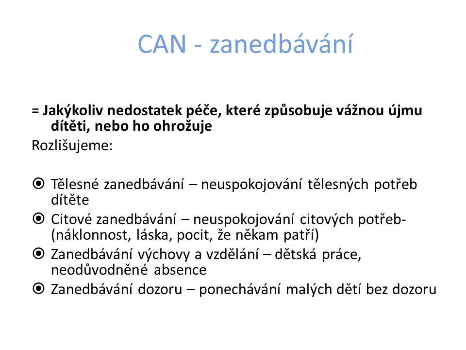 CAN - zanedbávání = Jakýkoliv nedostatek péče, které způsobuje vážnou újmu dítěti, nebo ho ohrožuje.