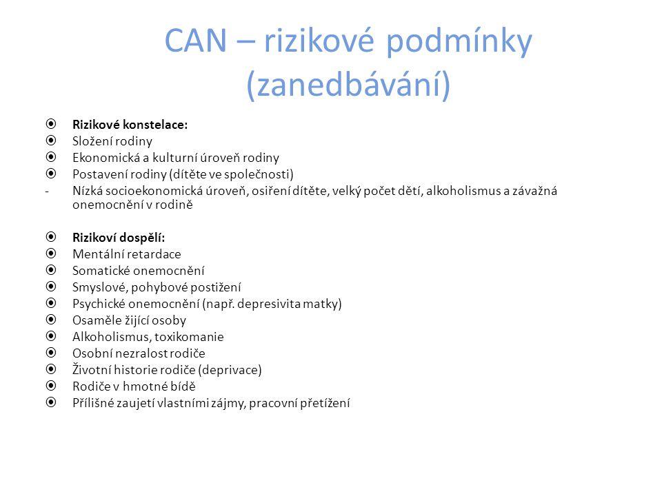 CAN – rizikové podmínky (zanedbávání)