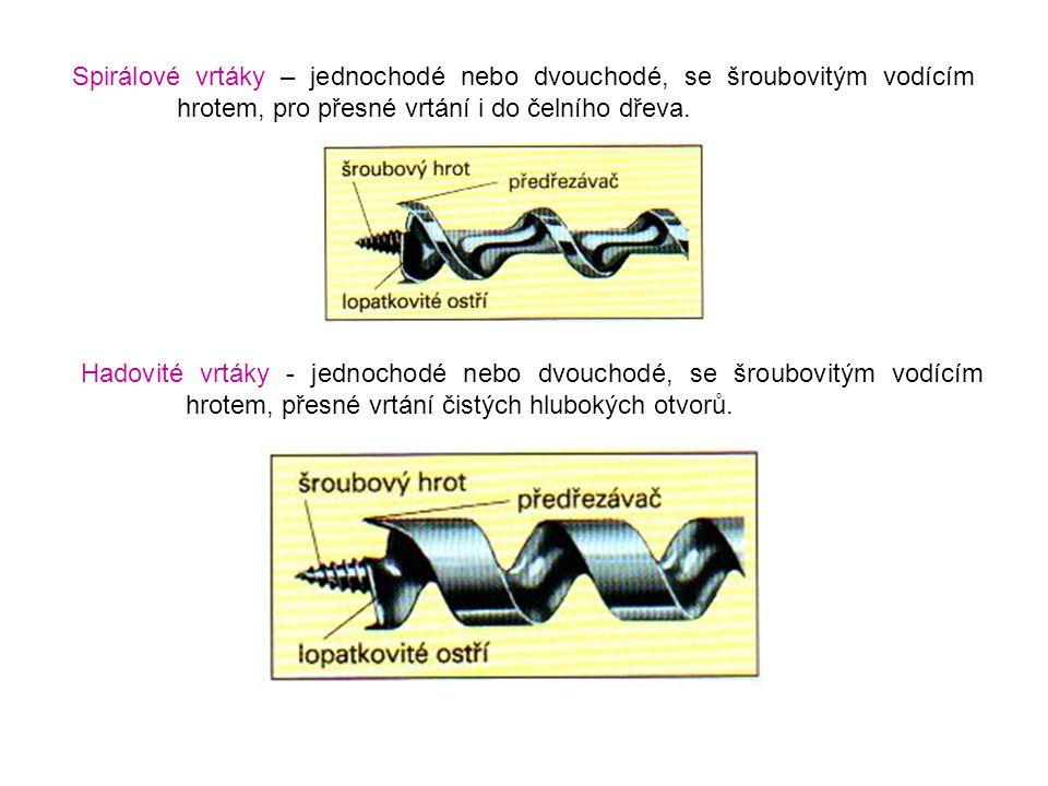 Spirálové vrtáky – jednochodé nebo dvouchodé, se šroubovitým vodícím