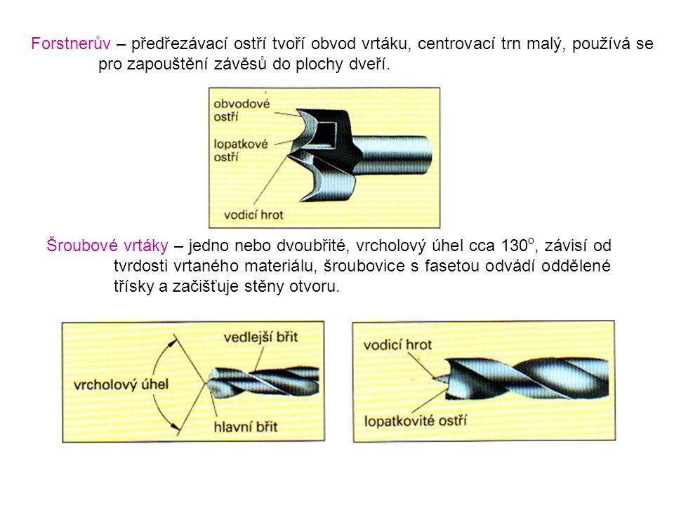 Forstnerův – předřezávací ostří tvoří obvod vrtáku, centrovací trn malý, používá se pro zapouštění závěsů do plochy dveří.
