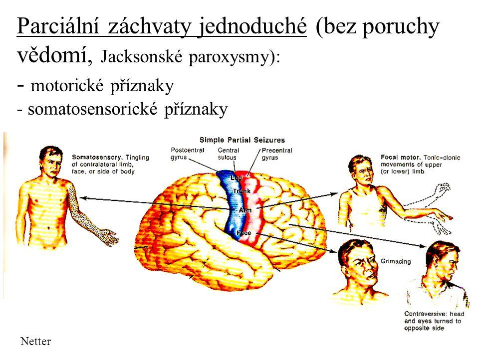 Parciální záchvaty jednoduché (bez poruchy vědomí, Jacksonské paroxysmy): - motorické příznaky - somatosensorické příznaky
