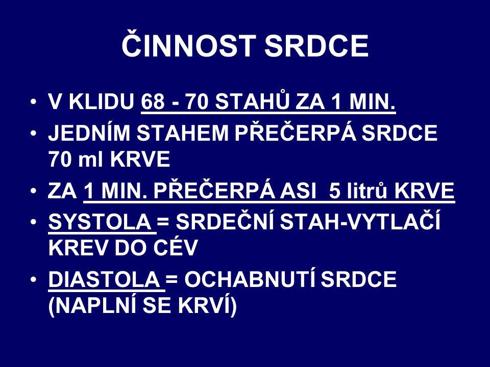 ČINNOST SRDCE V KLIDU 68 - 70 STAHŮ ZA 1 MIN.