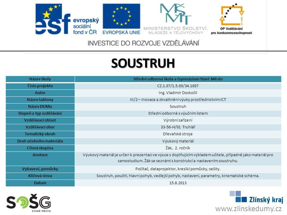 soustruh www.zlinskedumy.cz Název školy