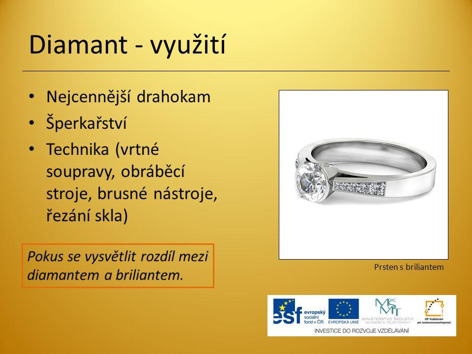 Diamant - využití Nejcennější drahokam Šperkařství