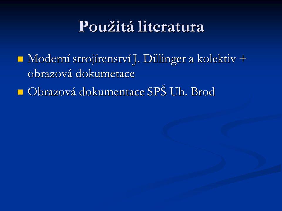 Použitá literatura Moderní strojírenství J. Dillinger a kolektiv + obrazová dokumetace.