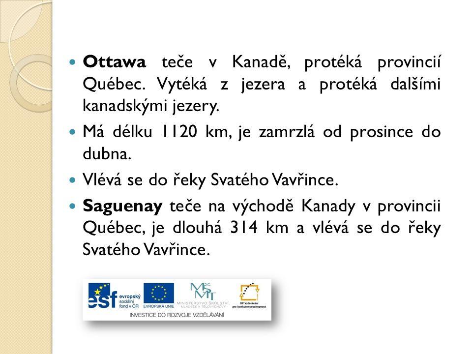 Ottawa teče v Kanadě, protéká provincií Québec