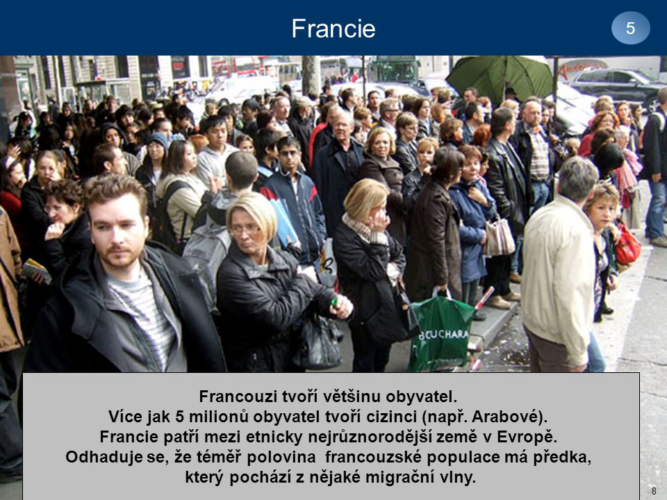 Francie 5 Francouzi tvoří většinu obyvatel.