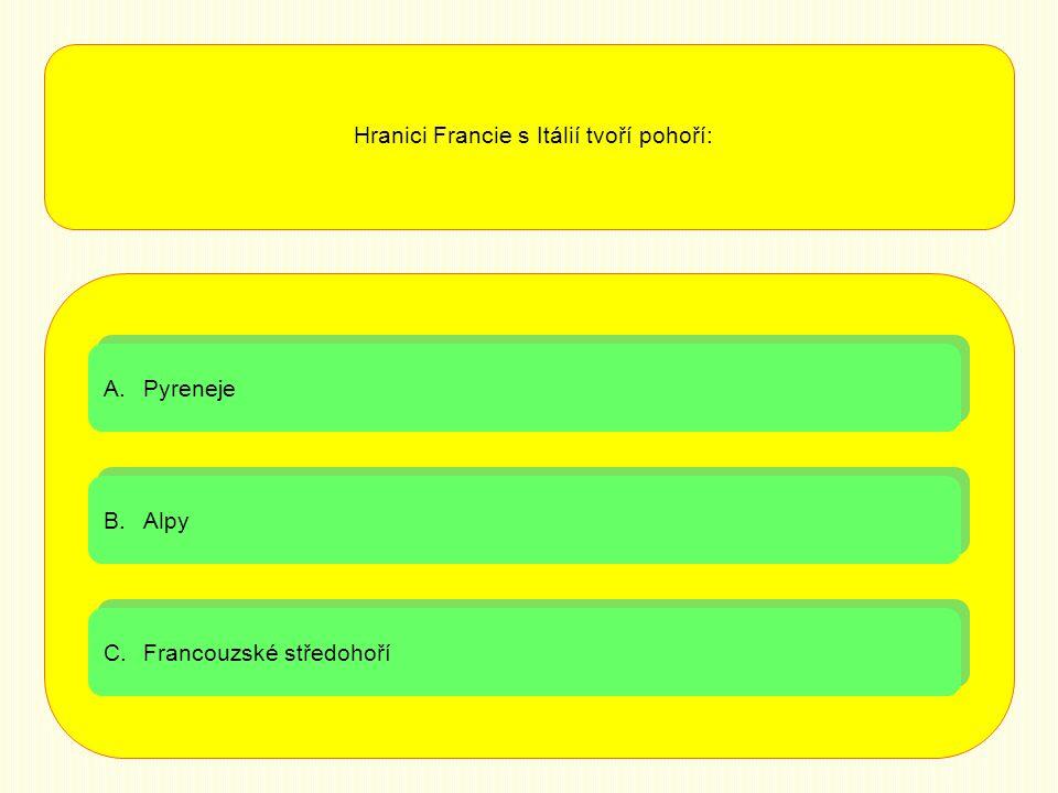 Hranici Francie s Itálií tvoří pohoří: