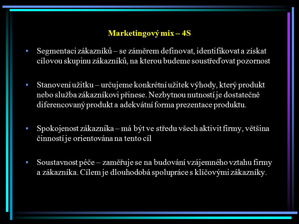 Marketingový mix – 4S