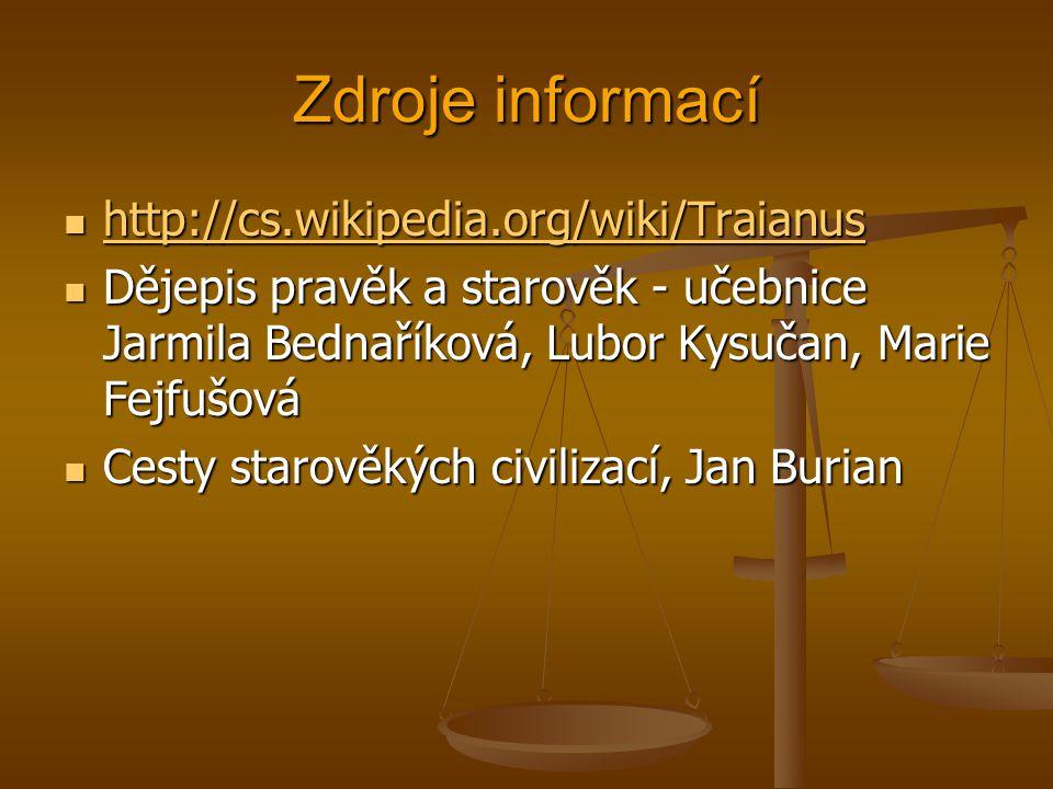 Zdroje informací http://cs.wikipedia.org/wiki/Traianus
