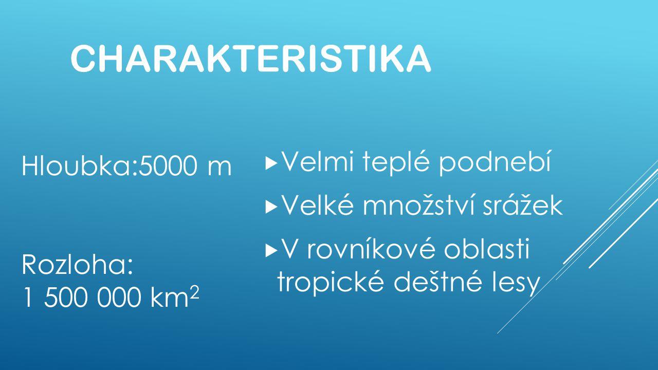 Charakteristika Velmi teplé podnebí Hloubka:5000 m