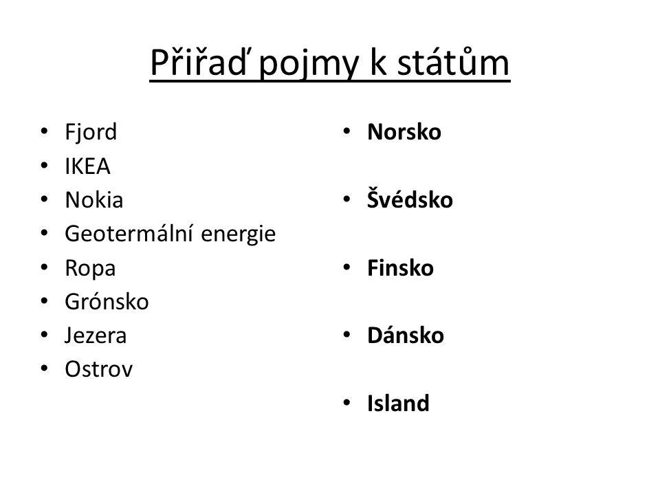 Přiřaď pojmy k státům Fjord IKEA Nokia Geotermální energie Ropa