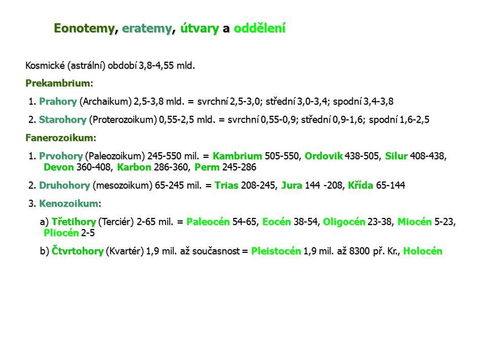 Eonotemy, eratemy, útvary a oddělení