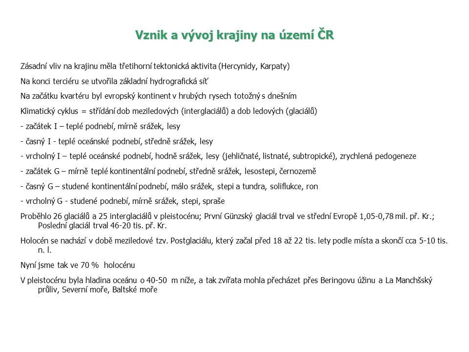 Vznik a vývoj krajiny na území ČR