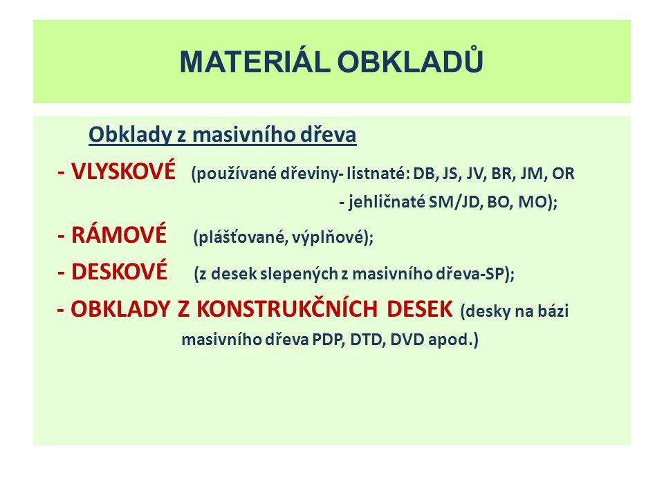 Zdroje MATERIÁL OBKLADŮ. Obklady z masivního dřeva. - VLYSKOVÉ (používané dřeviny- listnaté: DB, JS, JV, BR, JM, OR.