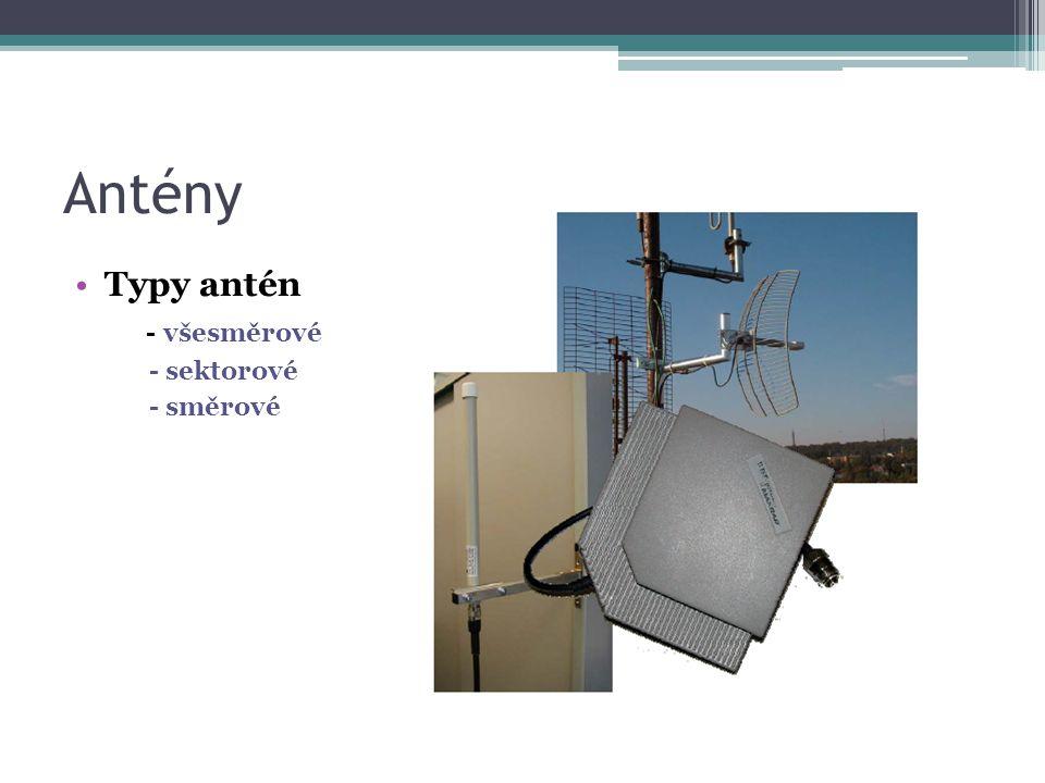 Antény Typy antén - všesměrové - sektorové - směrové