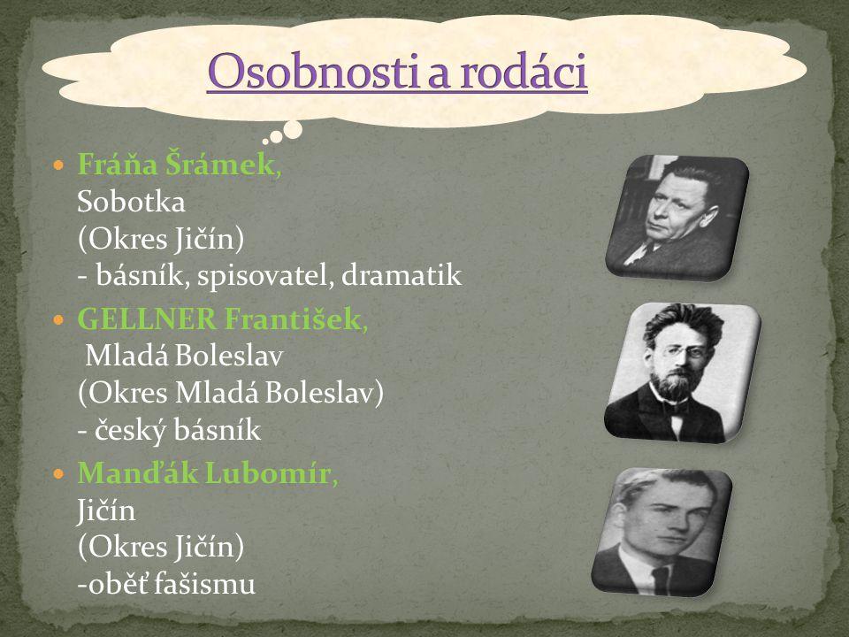 Osobnosti a rodáci Fráňa Šrámek, Sobotka (Okres Jičín) - básník, spisovatel, dramatik.