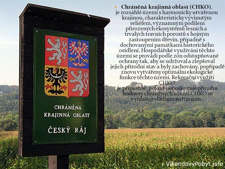 Chráněná krajinná oblast (CHKO), je rozsáhlé území s harmonicky utvářenou krajinou, charakteristicky vyvinutým reliéfem, významným podílem přirozených ekosystémů lesních a trvalých travních porostů s hojným zastoupením dřevin, případně s dochovanými památkami historického osídlení.