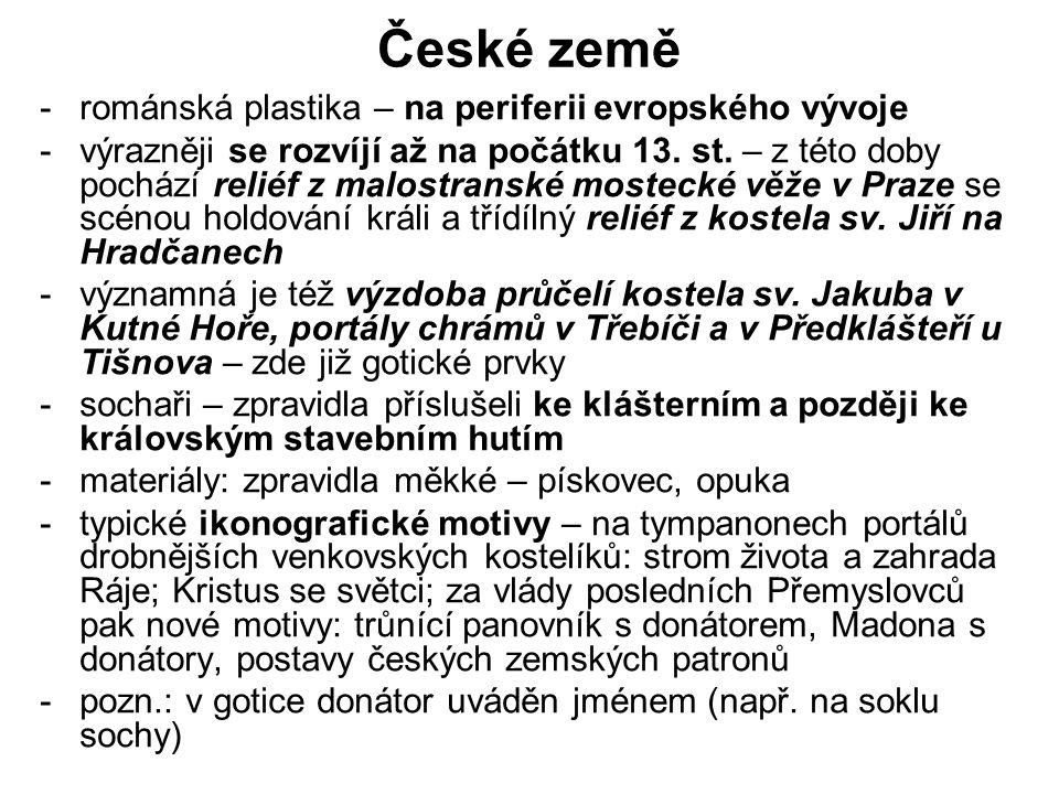 České země románská plastika – na periferii evropského vývoje