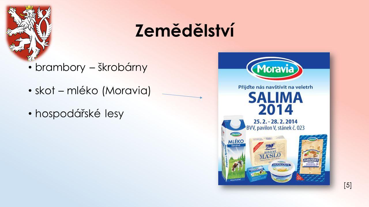 Zemědělství brambory – škrobárny skot – mléko (Moravia)
