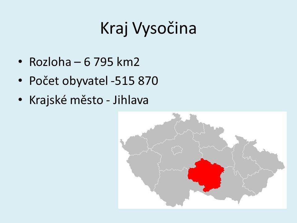 Kraj Vysočina Rozloha – 6 795 km2 Počet obyvatel -515 870