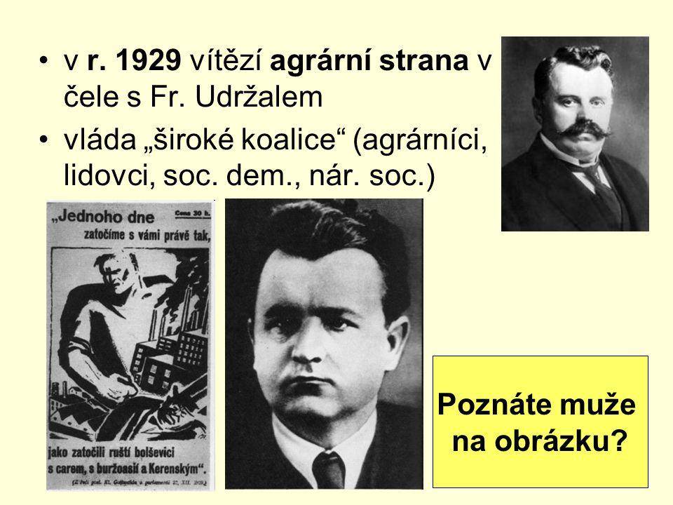 v r. 1929 vítězí agrární strana v čele s Fr. Udržalem