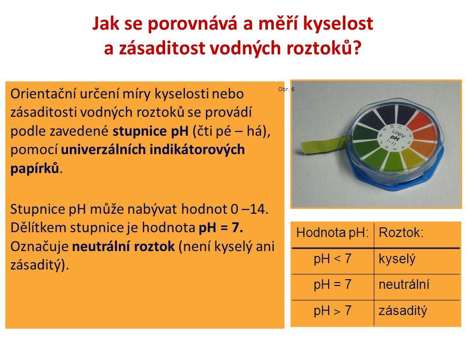 Jak se porovnává a měří kyselost a zásaditost vodných roztoků