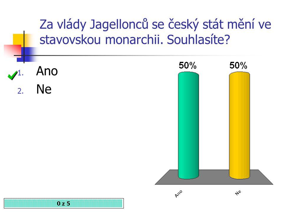 Za vlády Jagellonců se český stát mění ve stavovskou monarchii