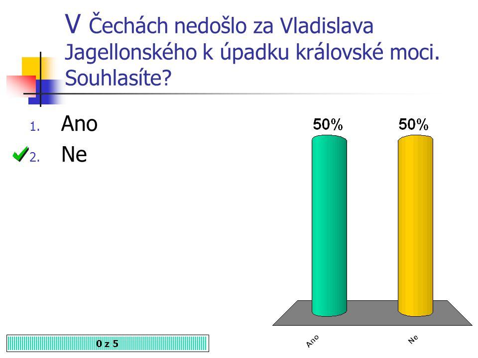 V Čechách nedošlo za Vladislava Jagellonského k úpadku královské moci