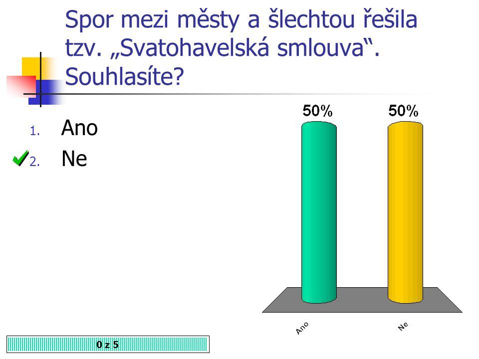 """Spor mezi městy a šlechtou řešila tzv. """"Svatohavelská smlouva"""