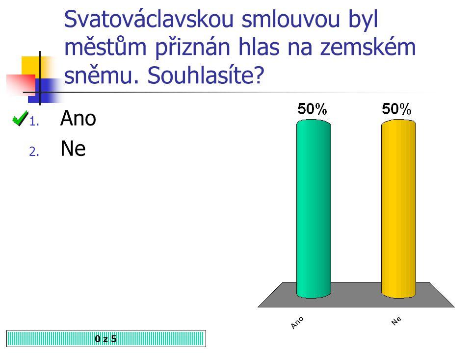 Svatováclavskou smlouvou byl městům přiznán hlas na zemském sněmu