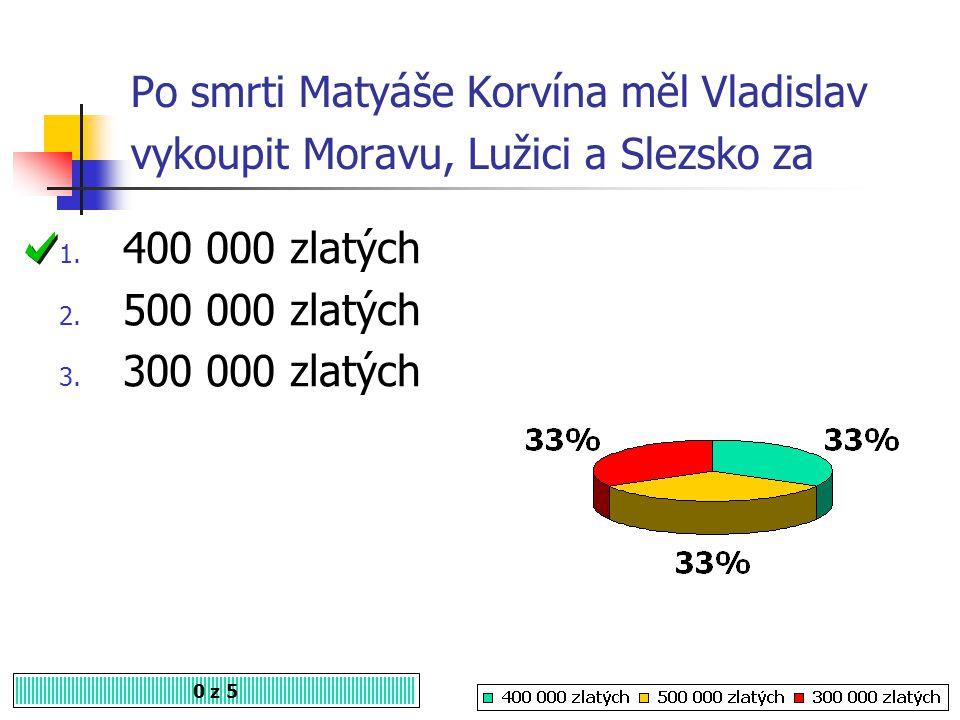 Po smrti Matyáše Korvína měl Vladislav vykoupit Moravu, Lužici a Slezsko za
