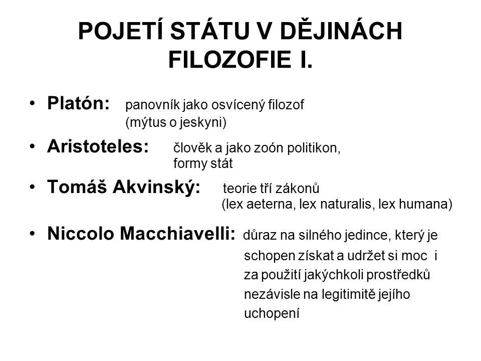 POJETÍ STÁTU V DĚJINÁCH FILOZOFIE I.