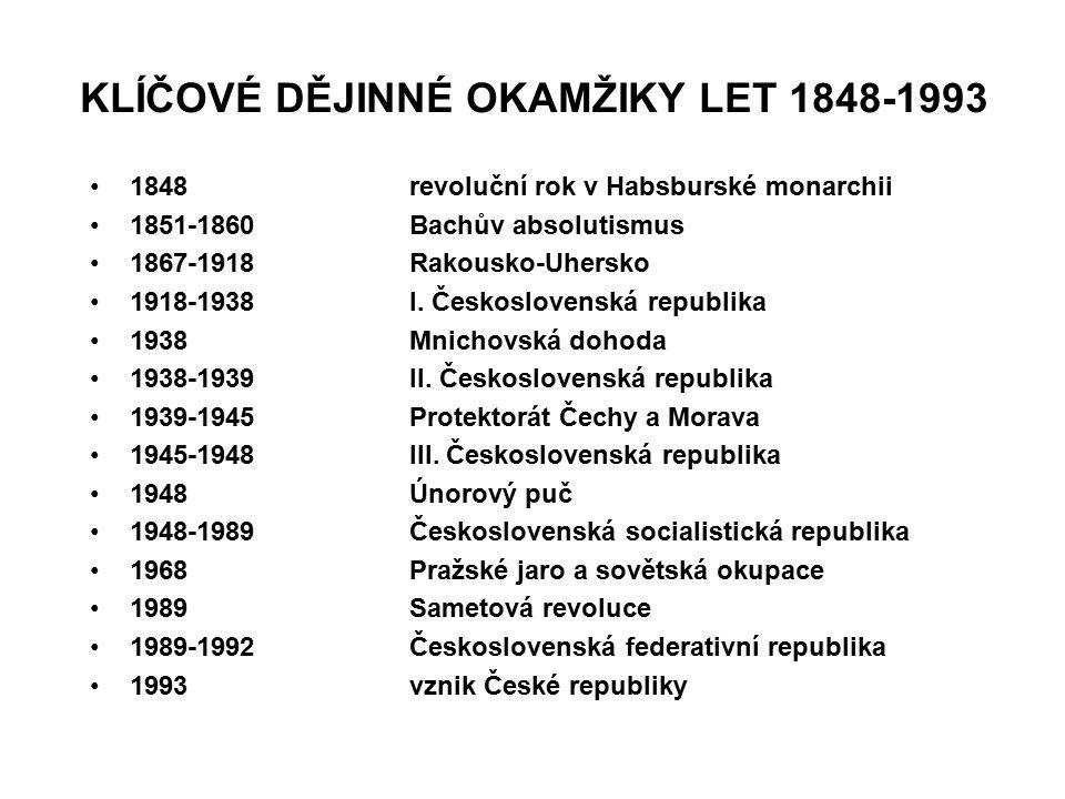 KLÍČOVÉ DĚJINNÉ OKAMŽIKY LET 1848-1993