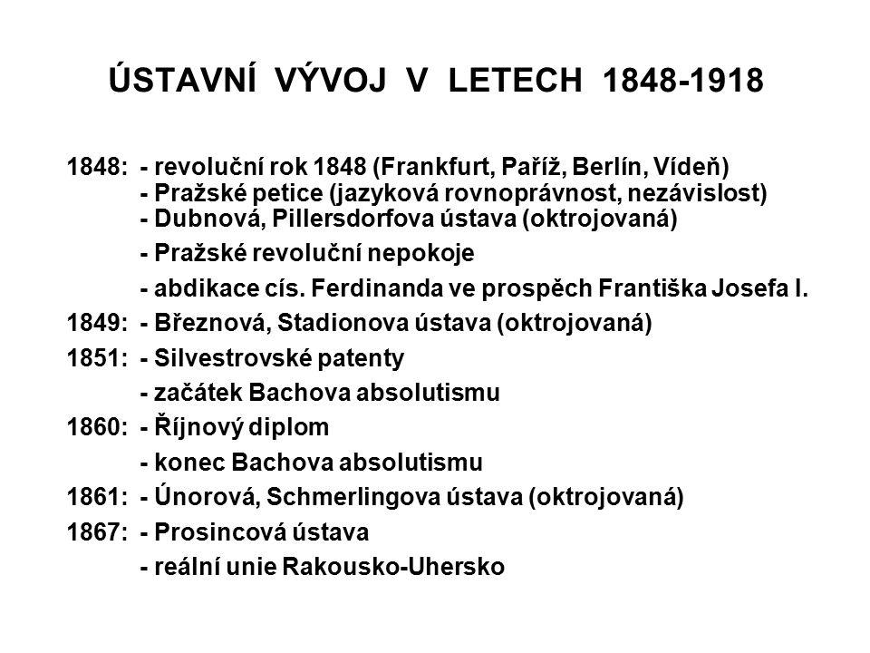 ÚSTAVNÍ VÝVOJ V LETECH 1848-1918