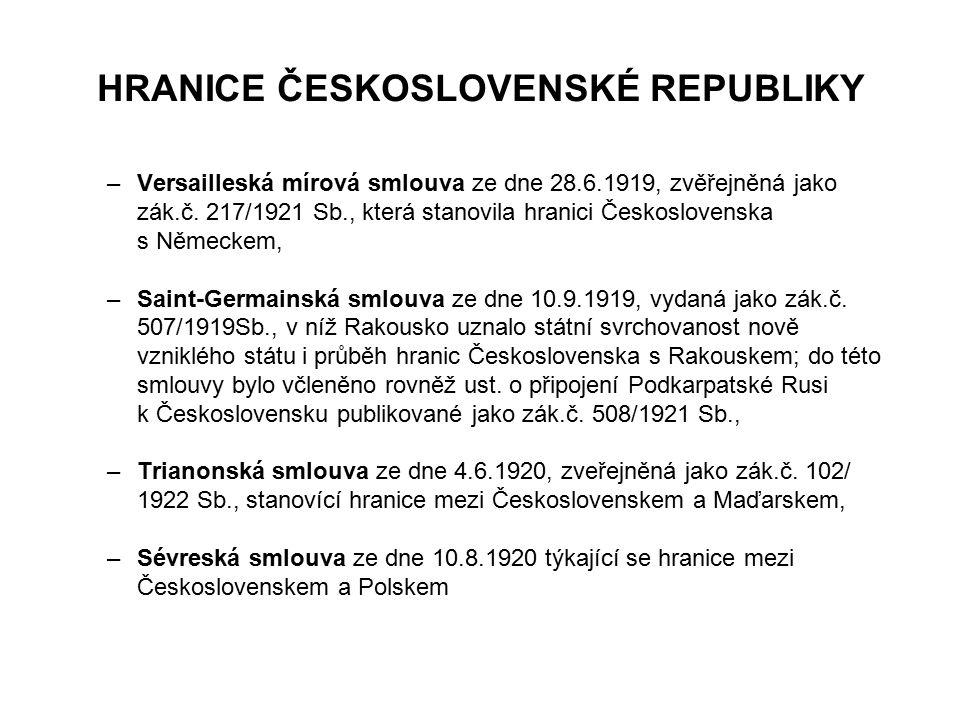 HRANICE ČESKOSLOVENSKÉ REPUBLIKY