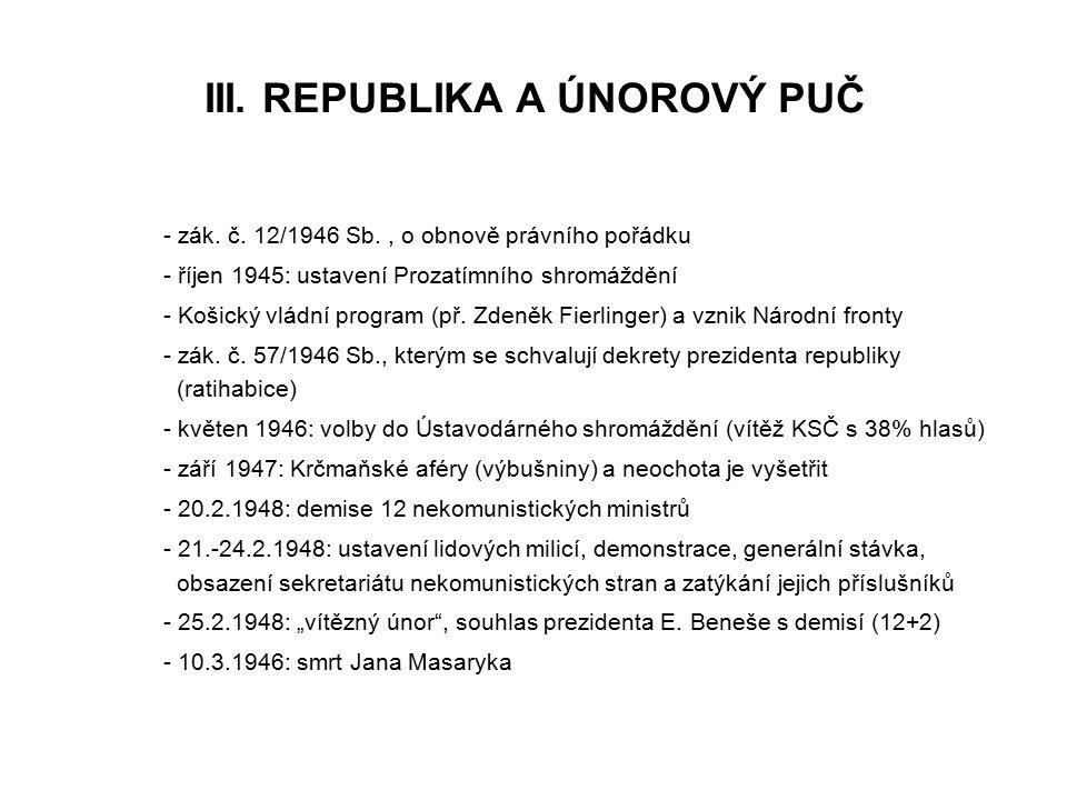 III. REPUBLIKA A ÚNOROVÝ PUČ