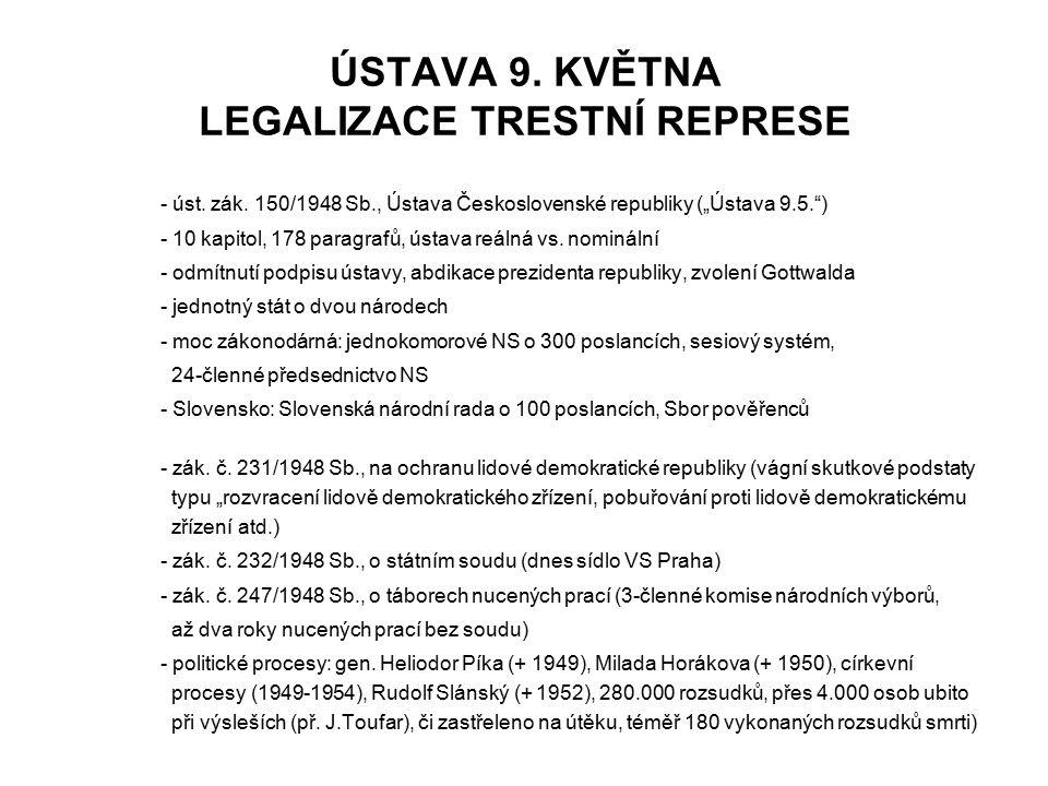 ÚSTAVA 9. KVĚTNA LEGALIZACE TRESTNÍ REPRESE