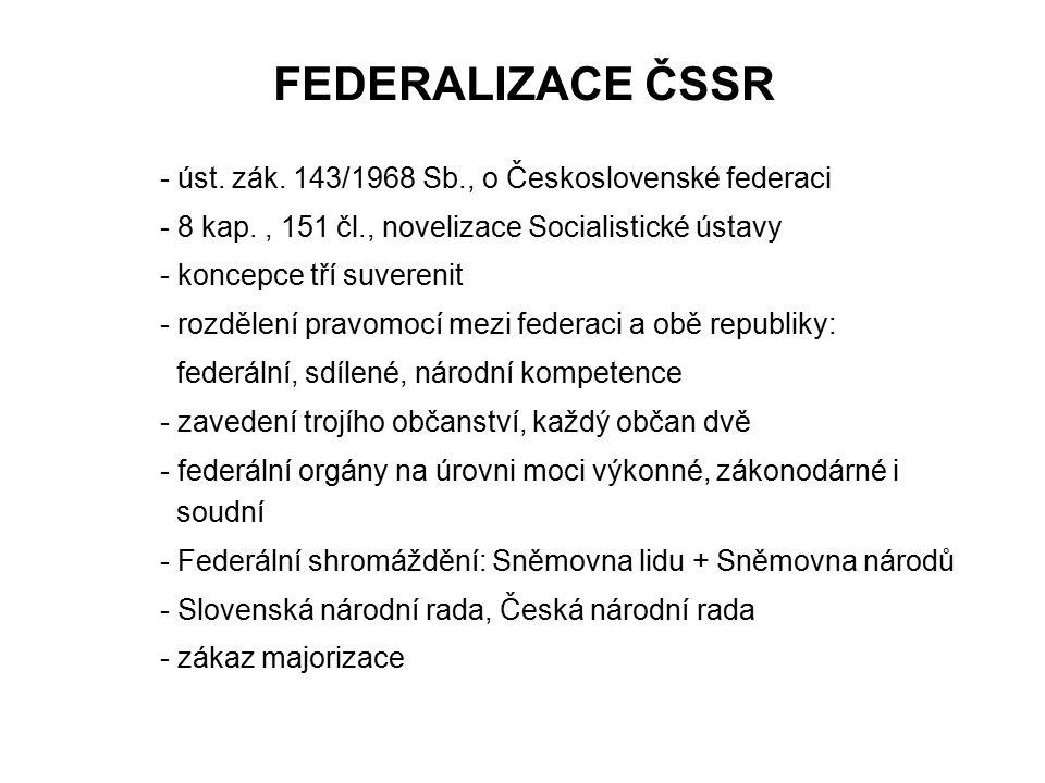 FEDERALIZACE ČSSR - 8 kap. , 151 čl., novelizace Socialistické ústavy