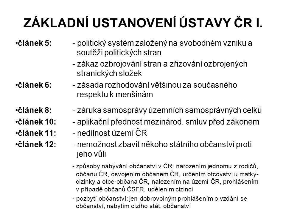 ZÁKLADNÍ USTANOVENÍ ÚSTAVY ČR I.