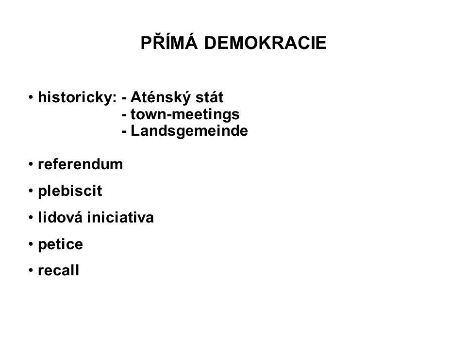 PŘÍMÁ DEMOKRACIE historicky: - Aténský stát - town-meetings