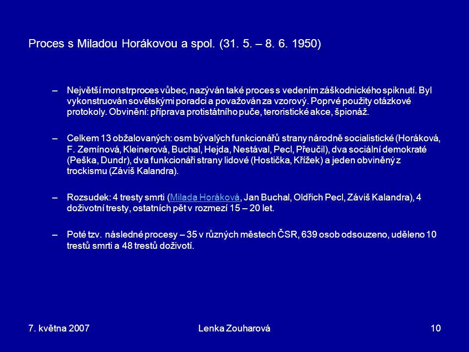 Proces s Miladou Horákovou a spol. (31. 5. – 8. 6. 1950)