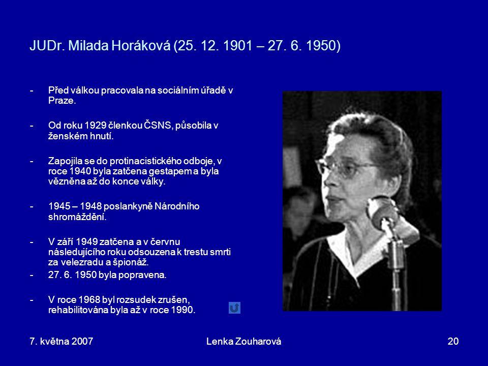 JUDr. Milada Horáková (25. 12. 1901 – 27. 6. 1950)