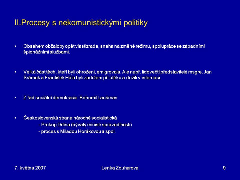 II.Procesy s nekomunistickými politiky