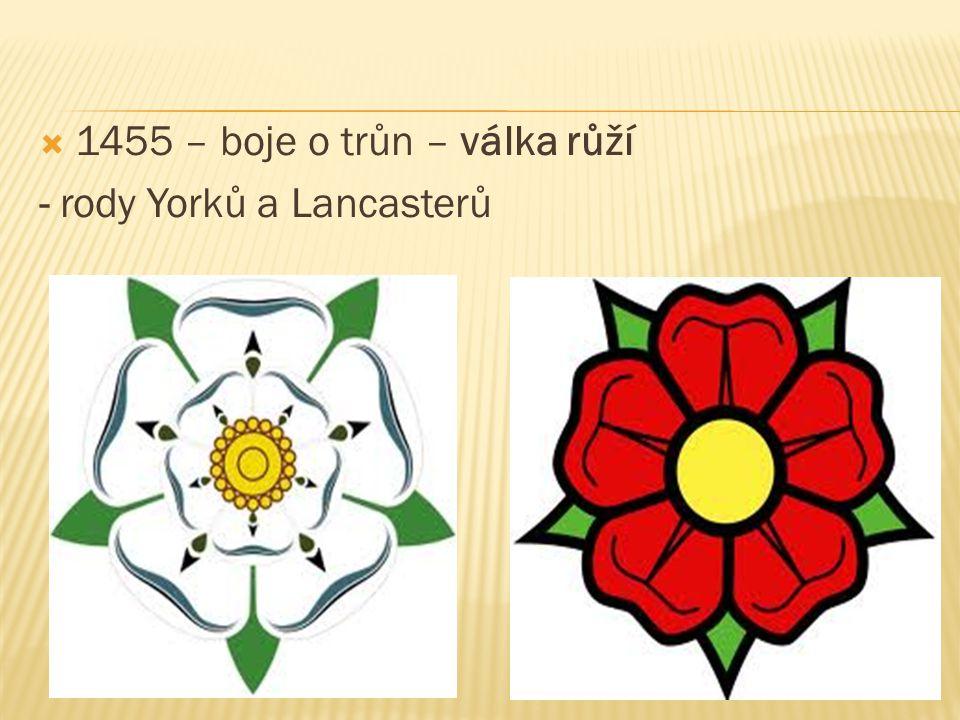 1455 – boje o trůn – válka růží