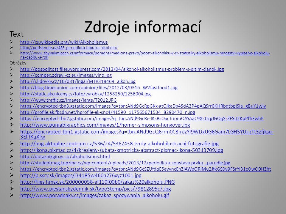 Zdroje informací Text. http://cs.wikipedia.org/wiki/Alkoholismus. http://potisknute.cz/485-periodicka-tabulka-alkoholu/