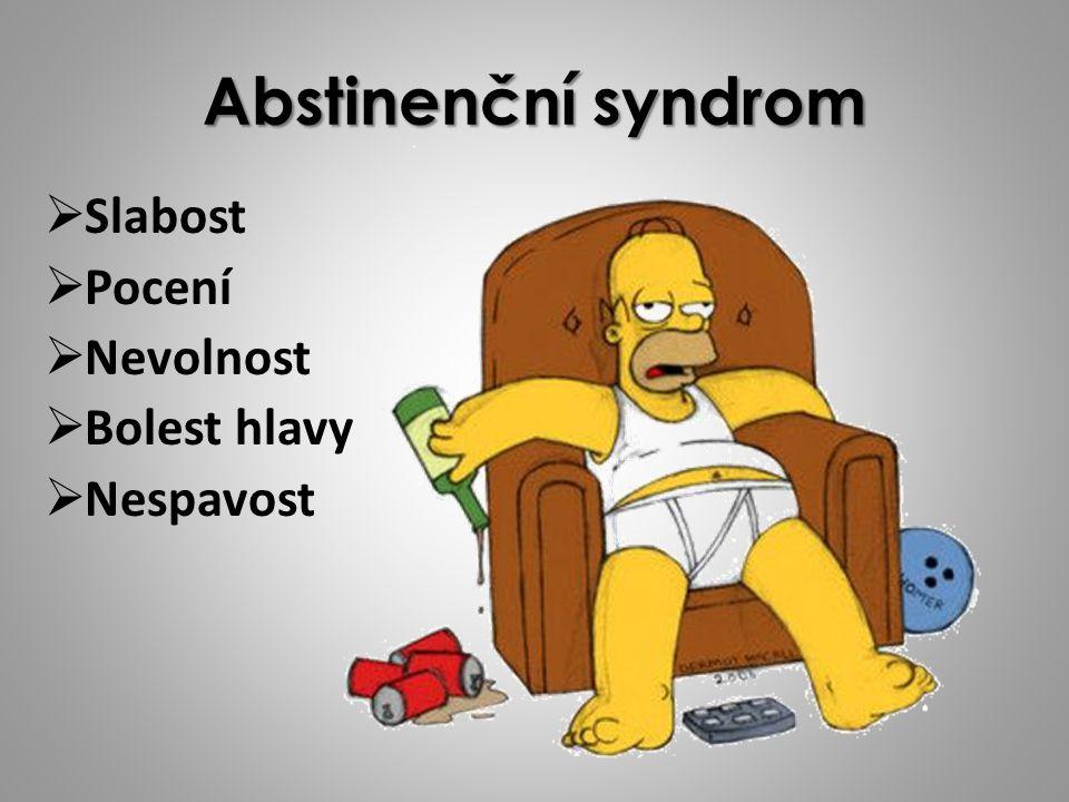 Abstinenční syndrom Slabost Pocení Nevolnost Bolest hlavy Nespavost